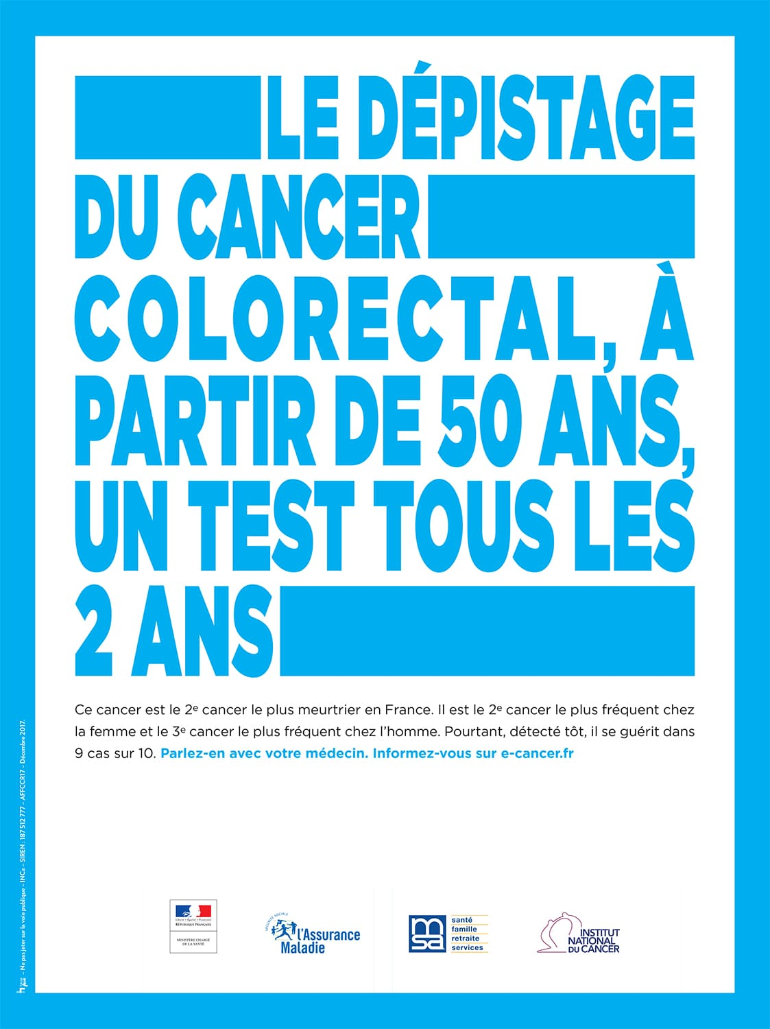 Affiche dépistage du cancer colorectal